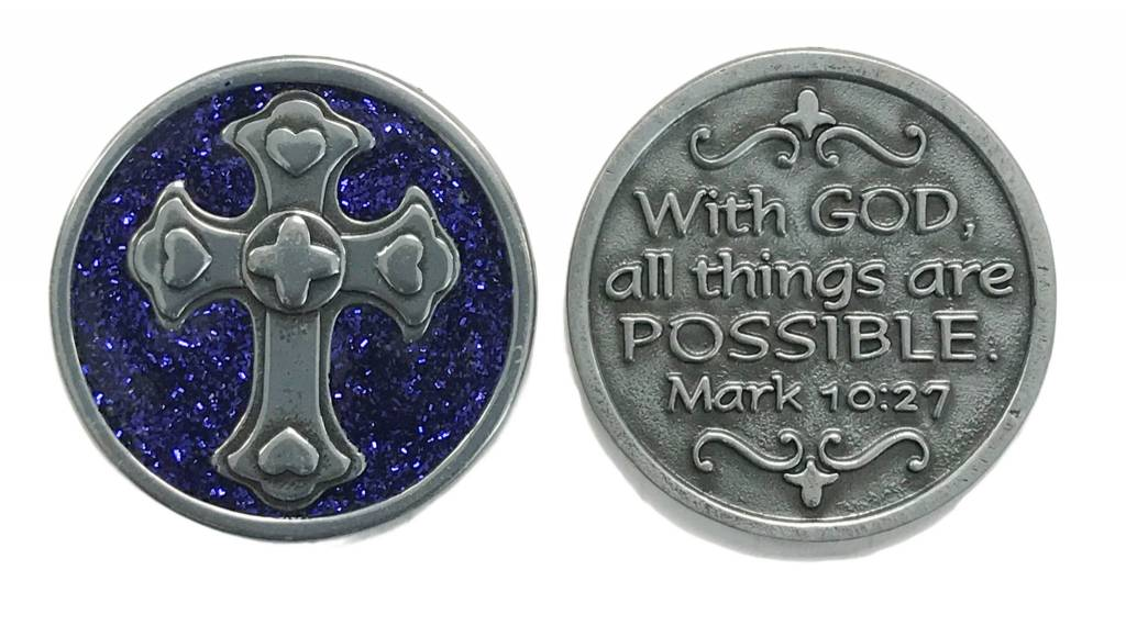 With God All Things Are Possible Sparkle Pocket Token