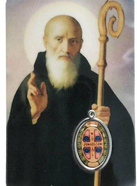 St. Benedict Prayer Card w/ Epoxy Medal
