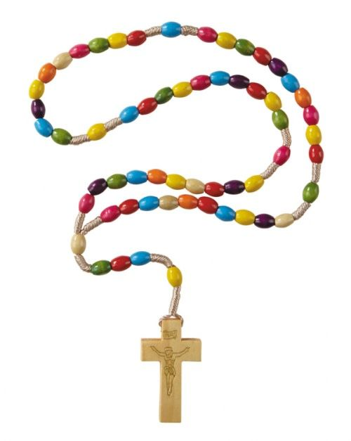 Colorful Wood Cord Rosary