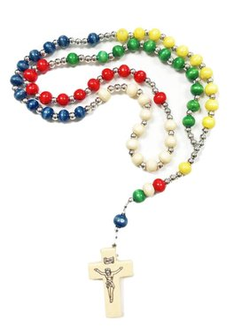 Multi-Colored Wood Bead Mission Rosary