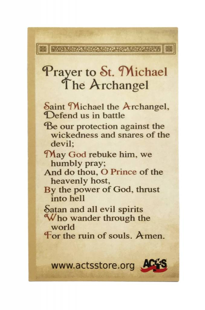 St. Michael Protection Prayer Card - The ACTS Mission Store