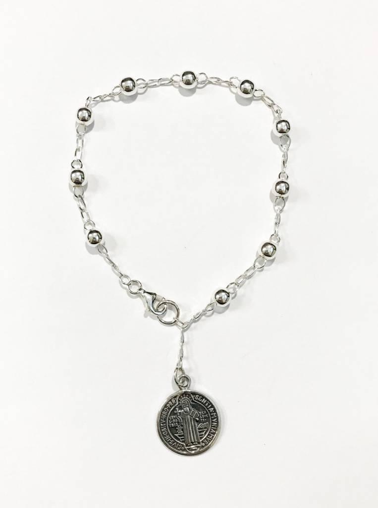 St. Benedict Medal Large Bead SS Rosary Bracelet
