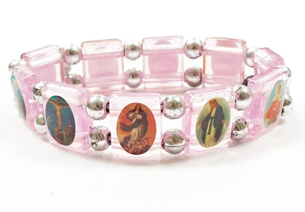 Pink Saints Bracelet w/Prayer Card