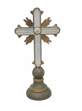 "12"" Silver & Gold Table Cross-2"