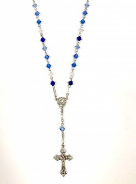"18"" Blue Rosary Necklace"