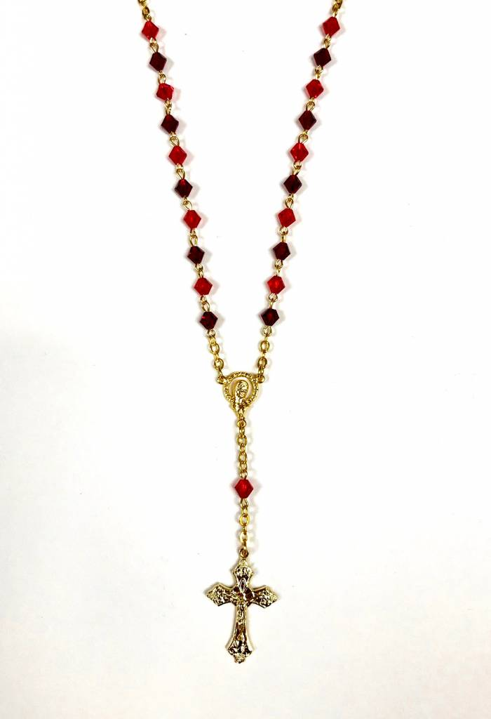 """18"""" Red Rosary Necklace"""
