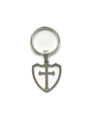 Stainless Steel Shield Cross Keychain