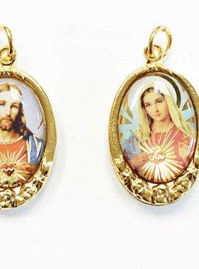 Sacred Hearts Gold Tone Epoxy Pendant