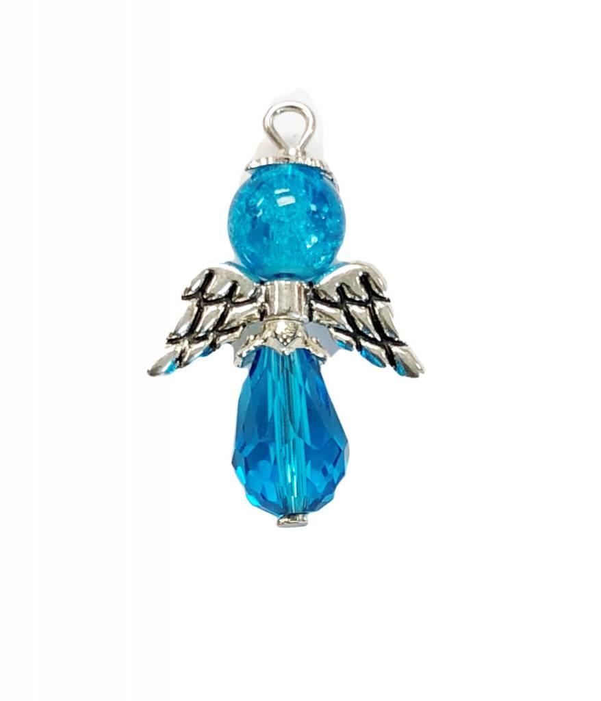Blue Glass Bead Angel Charm