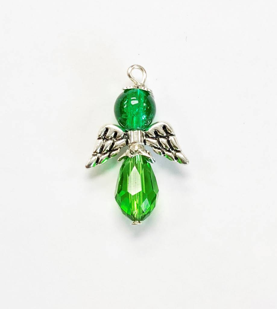 Green Glass Bead Angel Charm