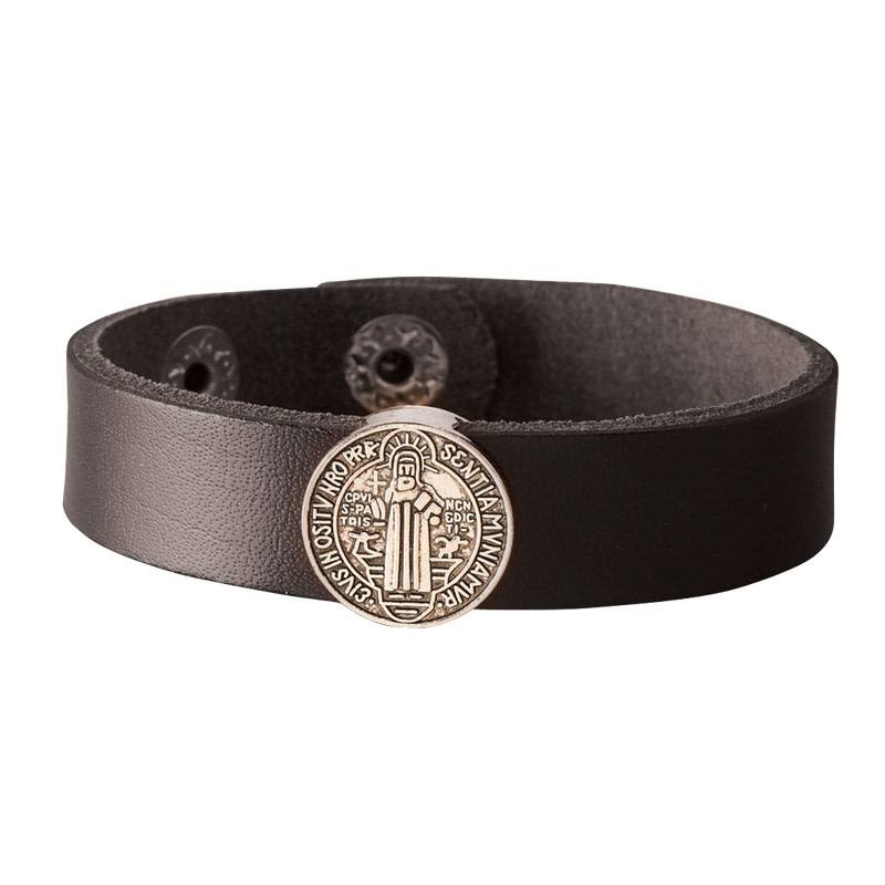 St Benedict Medal Black Leather Bracelet Band