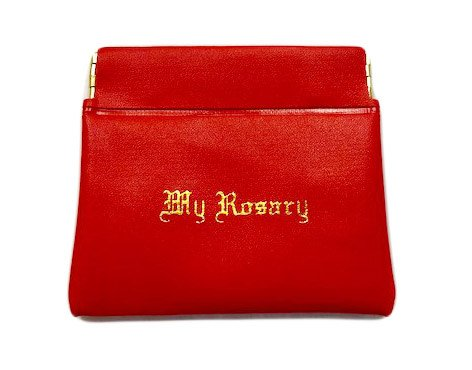 Red Rosary Clutch Case