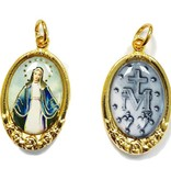 Our Lady of Grace Gold Tone Epoxy Pendant