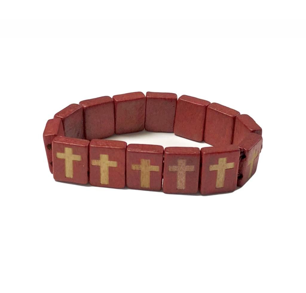 Red Wood Cross Bracelet