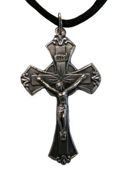 "1.75"" Flared Crucifix Metal Pendant w/cord"