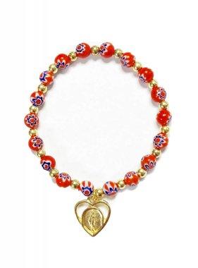 Red Flower Bead Bracelet
