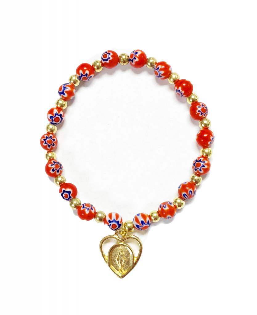 Red Flower Bead Bracelet