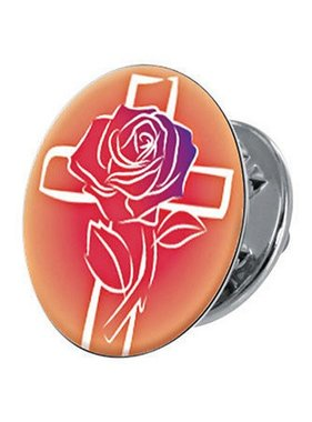 A Rose at the Cross Lapel Pin