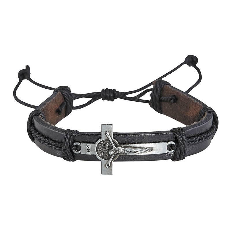 St Benedict Black Leather Crucifix Bracelet