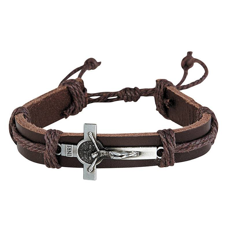 St Benedict Brown Leather Crucifix Bracelet