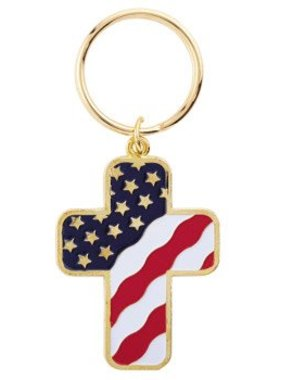 USA Flag Cross Keychain