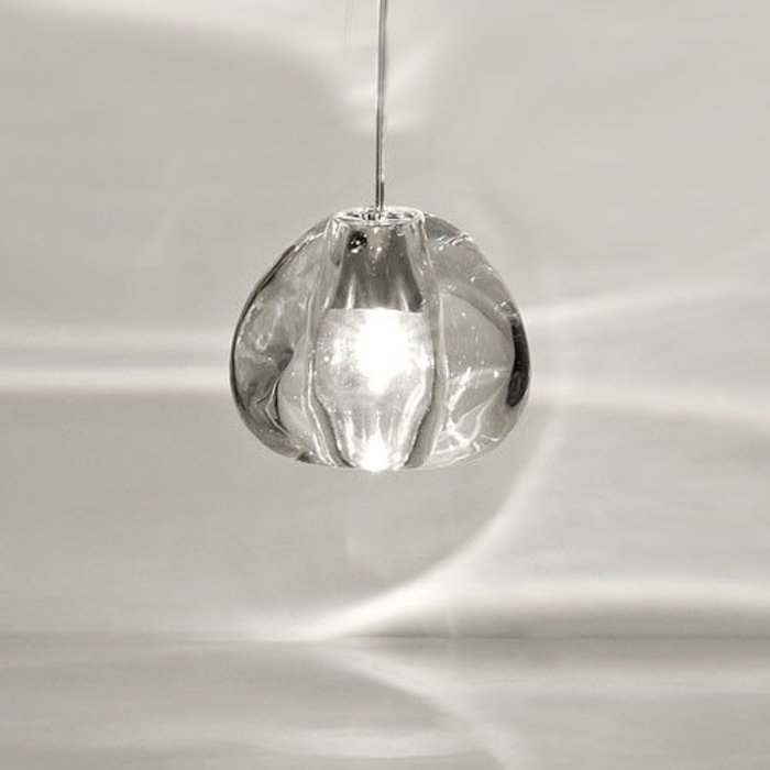 Mizu Pendant, Brushed Nickel, Clear