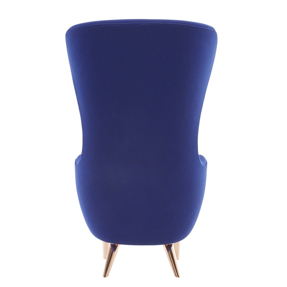 Wingback Micro chair B Kvadrat Divine Blue/copper