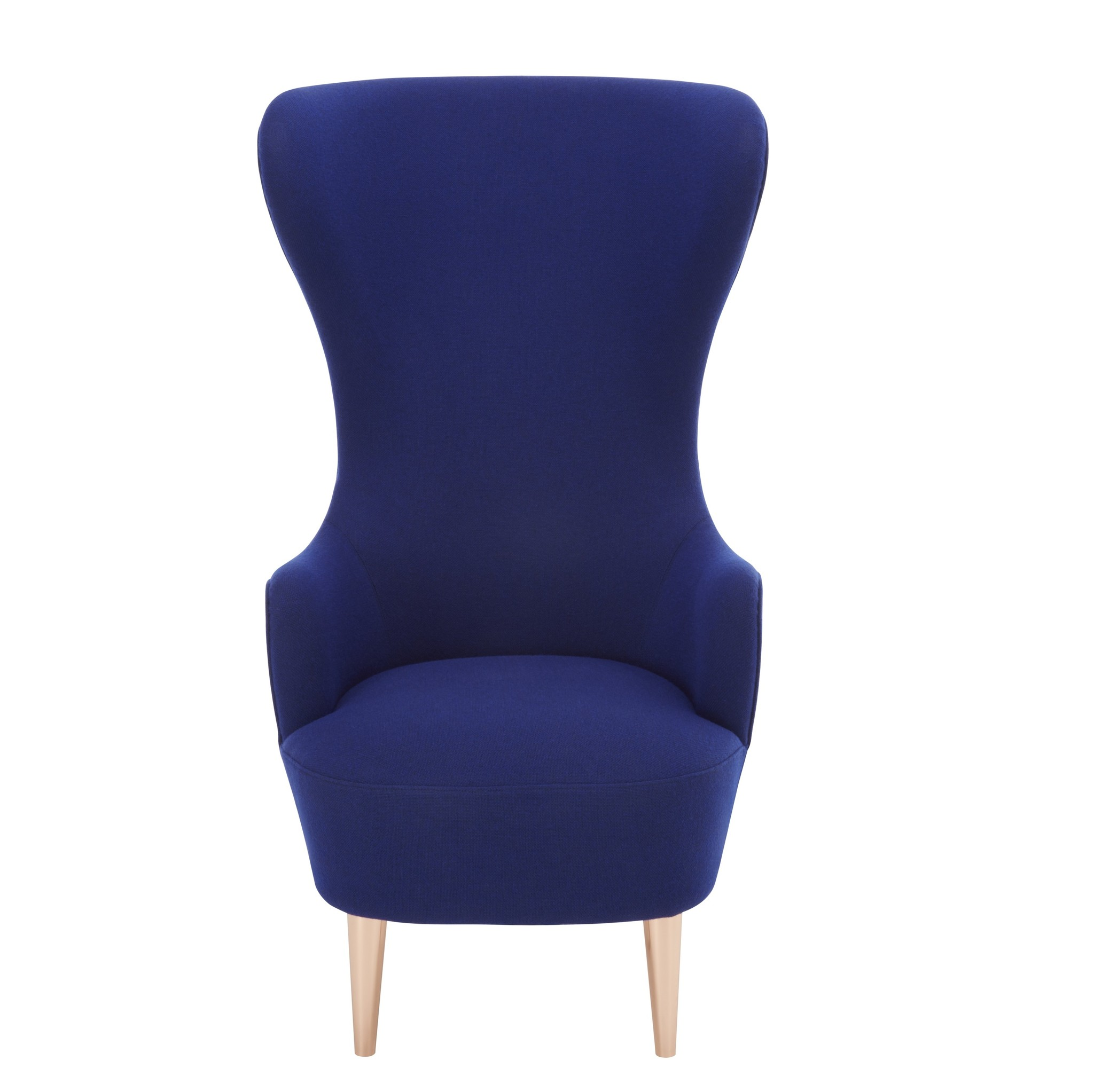 Wingback Micro chair B Kvadrat Divine Blue/copper