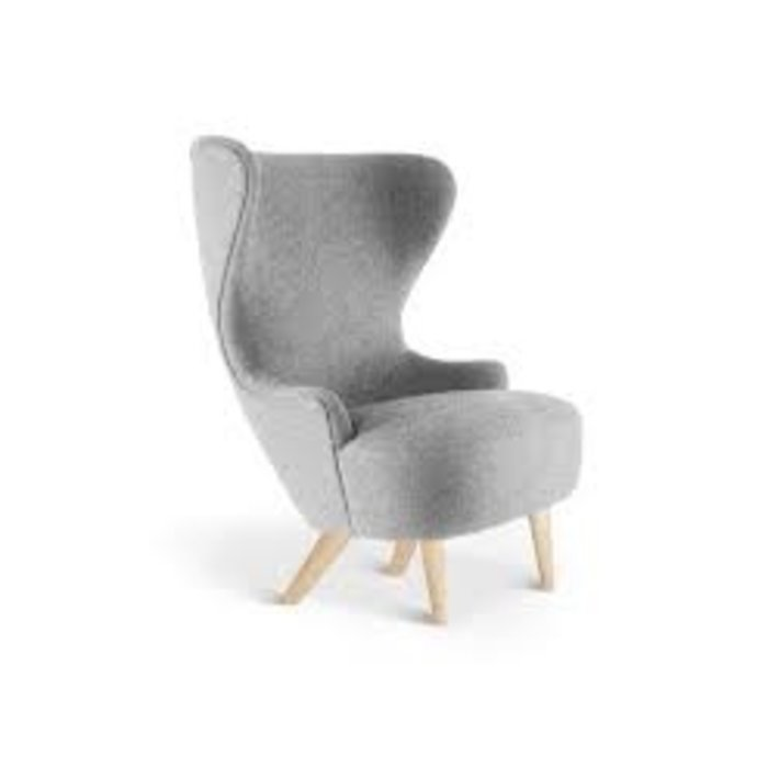 Wingback microchair Kvadrat Divine 3 grey natural legs. Sold by 2