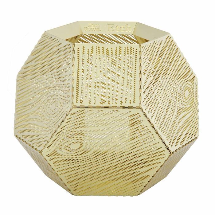 Etch Tea Light Holder Wood Pattern Brass