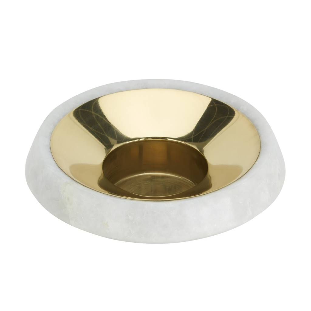 Stone Tea Light Holder Brass