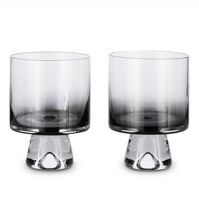 Tank Low Ball Glass Black S/2