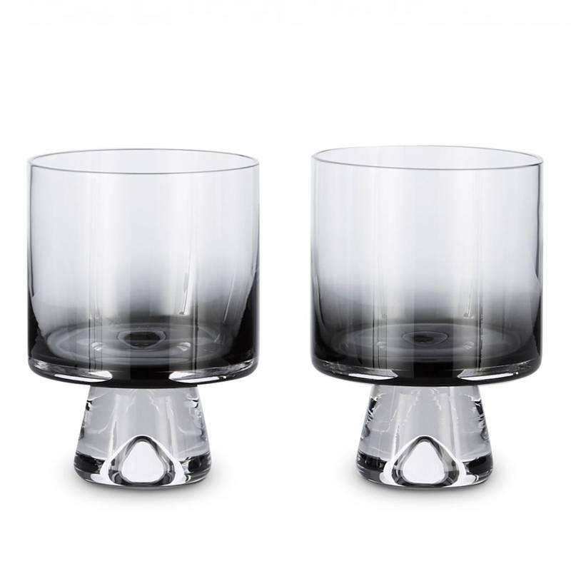 Tank Low Ball Glass Black Set/2