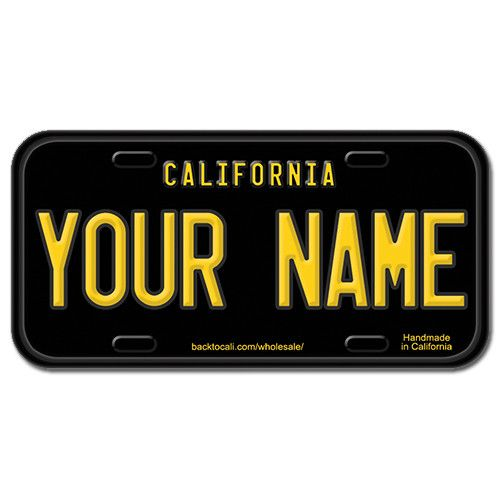 BIKE-SIZE CUSTOM WOODEN LICENSE PLATE (ECOM) Black And Yellow