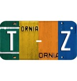 Multi Color Collage Wooden license plate T-Z