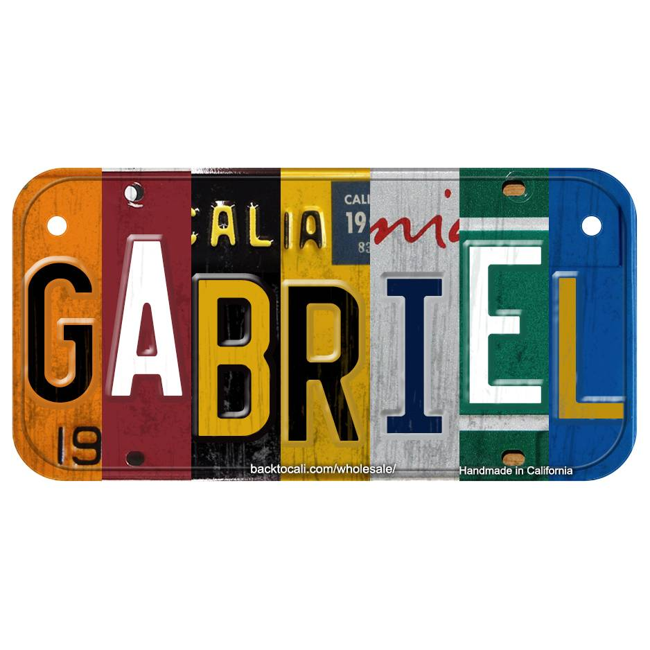 Multi Color Collage Wooden license plate A-G