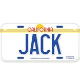 Classic White Wooden License Plate H-L