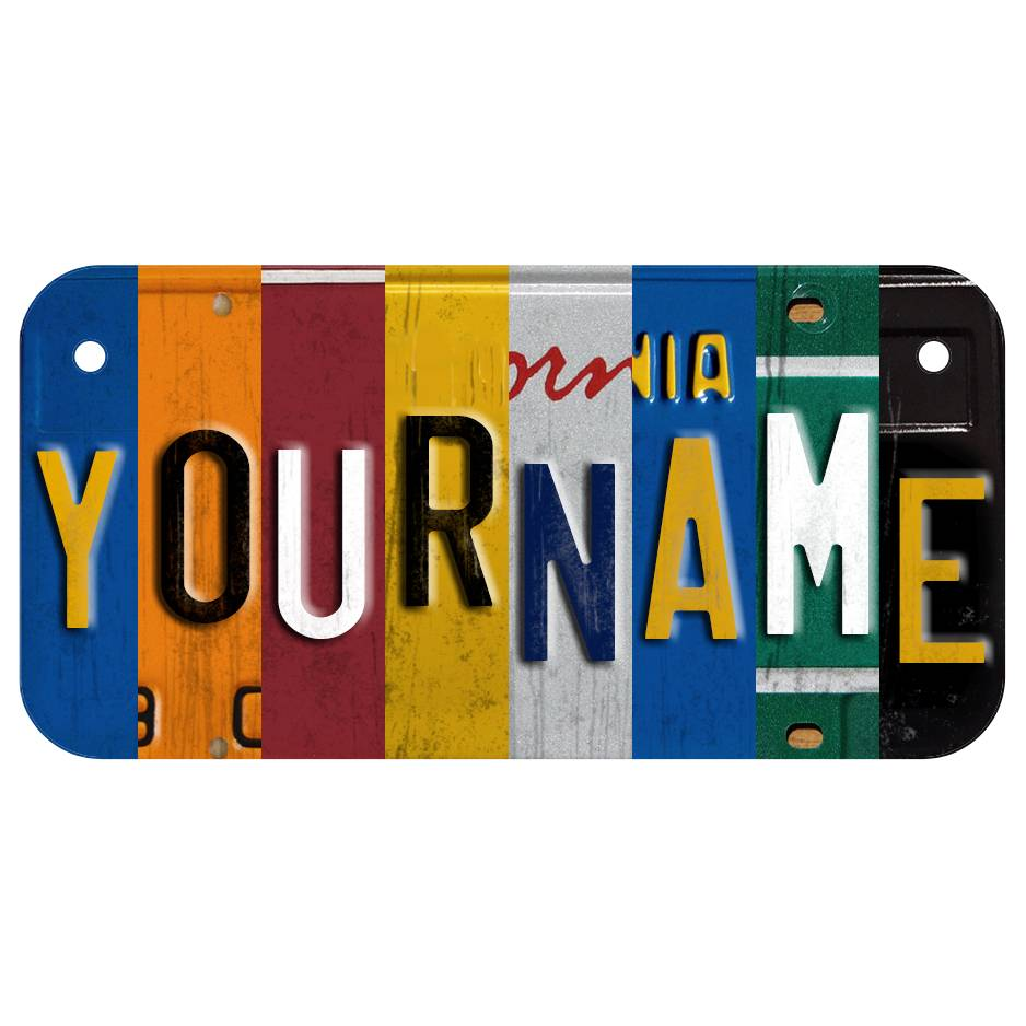 BIKE-SIZE CUSTOM WOODEN LICENSE PLATE (ECOM) Classic Collage