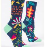 Blue Q Delicate Fucking Flower Crew Socks