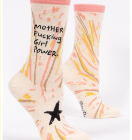 Blue Q Mother Fucking Girl Power Crew Sock