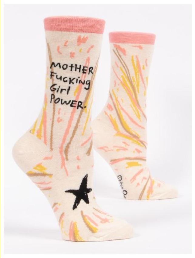 Blue Q Mother Fucking Girl Power Crew Sock