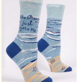 Blue Q Ocean Gets Me Crew Socks