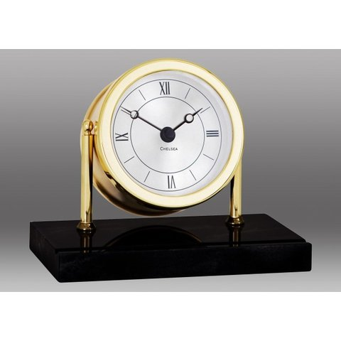 CHELSEA Chatham Desk Clock in Brass on Black Marble Base