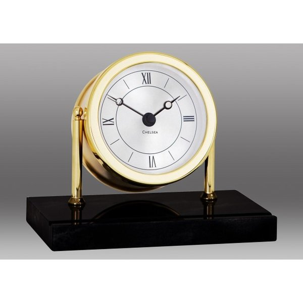 CHELSEA CLOCK CO. CHELSEA Chatham Desk Clock in Brass on Black Marble Base