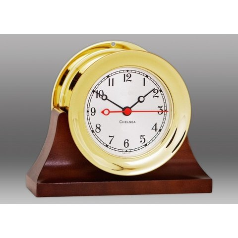 "CHELSEA 4.5"" Shipstrike Quartz Clock on Contemporary Base"