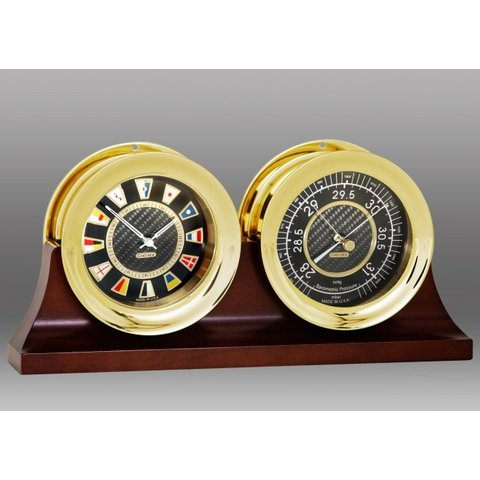 "CHELSEA 4.5"" Flag Clock w/Barometer on Double Base"