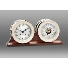 "CHELSEA CLOCK CO. CHELSEA 4.5"" Ship's Bell w/Hinge Bezel Nickel on Double Base w/Barometer"