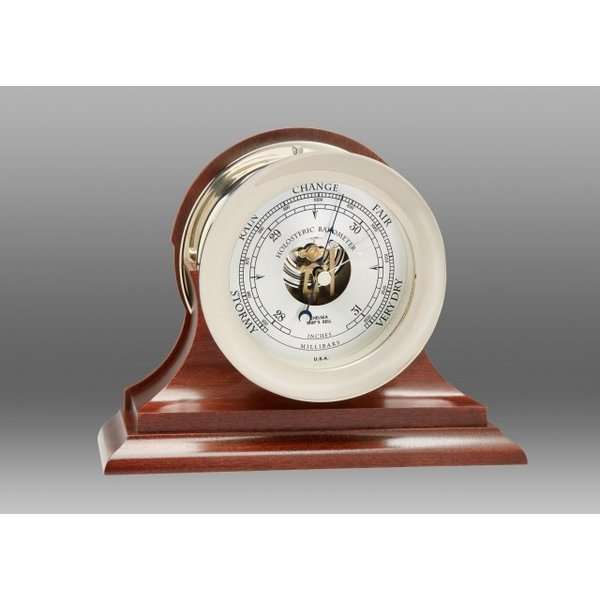 "CHELSEA CLOCK CO. CHELSEA 4.5"" Ship's Bell Barometer Nickel on Traditional Base"