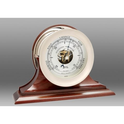 "CHELSEA 6"" Ship's Bell Barometer Nickel on Traditional Base"