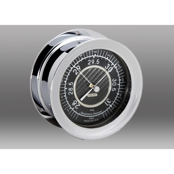 "CHELSEA Chelsea 4.5"" Carbon Fiber Barometer, Nickel"